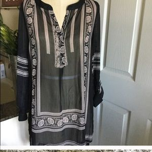 Sheer tunic black & tan mandarin collar high/low S